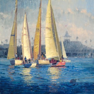 Debra Huse, Regatta Face Off, oil, 30 x 30.