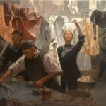 Mian Situ, Chinese Family Laundry, 1880, oil, 36 x 54.