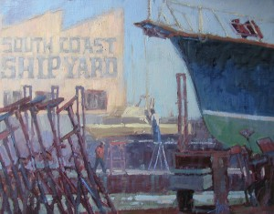 Debra Huse, Shipyard Blues, oil, 16 x 20.