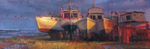 Virginia Vaughan, Past Their Prime, oil, 20 x 60.