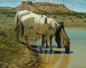 Dan Bodelson, Water Hole, oil, 24 x 30.