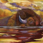 Nancy Cawdrey, Yellowstone Crossing, dye on silk, 14 x 28.