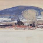 Ben Bauer, Hoffman Winter Portrait, oil, 10 x 26.