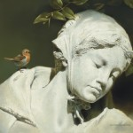 "Michael Dumas, ""Silence in the Shadows,"" Maiden Statue and European Robin, oil, 8 x 10."