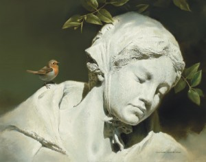 Michael Dumas, Silence in the Shadows, Maiden Statue and European Robin, oil, 8 x 10.