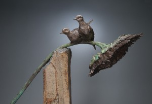 Paul Rhymer, Mourning Sun, bronze on basalt, 48 x 26 x 15.