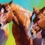 Julie T. Chapman, Redheads, oil, 15 x 30.