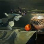 Kelli Folsom, Santa Fe Clay With Leaves, oil, 12 x 24.