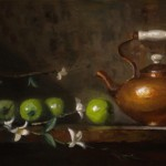 Kelli Folsom, Green Apples and Tea, oil, 12 x 24.