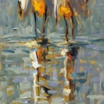 Kevin LePrince, Fowl Friends, oil, 30 x 10.