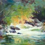 Julie Gilbert Pollard, Creek at Briar Patch, oil, 8 x 10.