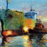 Kevin LePrince, Lighting the Harbor, oil, 13 x 19.