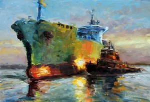 Kevin LePrince, Lighting the Harbor, oil, 13 x 19.