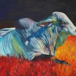 Sharon Markwardt, Big Brahma Blues II, oil, 24 x 36.