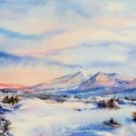 Marsha Owen, Dawn After Snowfall, watercolor, 15 x 22.