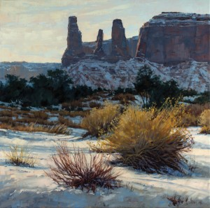Darcie Peet, Dressed for Winter, The Three Sisters, Monument Valley, oil, 24 x 24.