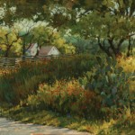 Darcie Peet, Paisley in Shadow and Wildflowers, oil, 12 x 24.