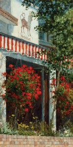 Darcie Peet, Red Stripes and Geraniums, oil, 24 x 12.