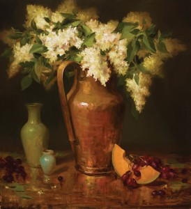 Elizabeth Robbins, Lilacs in Copper, oil, 24 x 22.