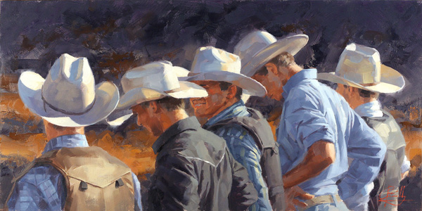Jim Connelly, Usual Suspects, oil, 12 x 24.