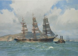 Christopher Blossom, The Down Easter Henry B. Hyde, Preparing to Anchor, San Francisco Bay, oil, 20 x 28.