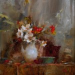 Laura Robb, Tulip Magnolias and Poppies, oil, 14 x 13.