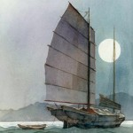 Robert Gantt Steele, Chinese Boat, watercolor, 10 x 8.