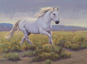 Eva van Rijn, The White Stallion, oil, 18 x 24.