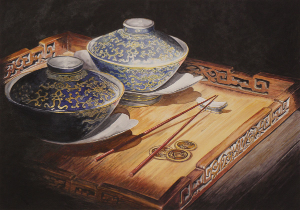 Laurin McCracken | The Emperor's Bowls, watercolor, 12 x 20.