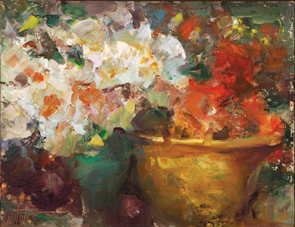 Mike Natale | Flowers With Plums, oil, 14 x 18.