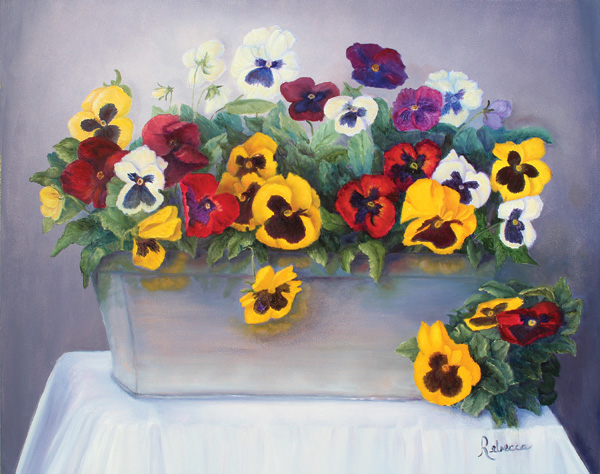 Rebecca Semone Ruhland | Pansies, oil, 16 x 20.