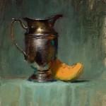 Elizabeth Robbins, Silver and Cantaloupe, oil, 18 x 14.