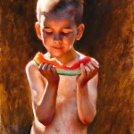 Nathaniel Skousen, August Watermelon, oil, 24 x 20.