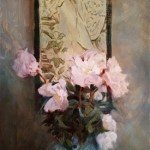 Michelle Dunaway | Mucha and Peonies, oil, 34 x 16.