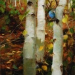 Kathy Anderson | Aspens and Stellers Jay, oil, 30 x 20.