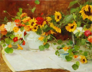Kathy Anderson | Autumn Still Life With Sunflowers, oil, 24 x 30.