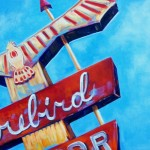 "Eleanor ""Honey"" Corbin, Firebird Motel Sign, Cheyenne, Wyo., oil, 12 x 16."