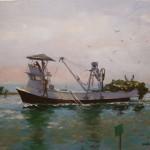 Marilyn Flinn, Returning With the Catch, oil, 20 x 24.