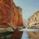 Marilyn Flinn, Toward the Rapids, oil, 16 x 12.