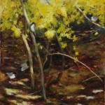 Kathy Anderson | Forsythia and Chickadees, oil, 40 x 30.
