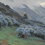 John Marshall Gamble, Morning Mists, Wild Lilac, oil, 20 x 30. Estimate: $40,000-$60,000.