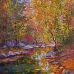 Julia Lesnichy, Sugar Hollow Creek in September, oil, 24 x 30.
