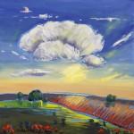 Mary Bechtol, Plowed Field at Dusk, oil, 16 x 16.