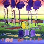 Mary Bechtol, Purple Orchard, oil, 46 x 40.