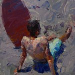 Paul Cheng | Take a Break Surfer, oil, 12 x 9.