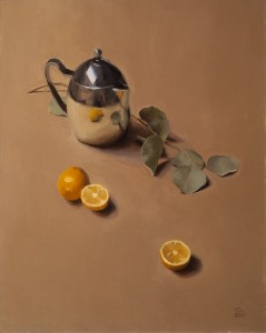Sarah Freeman | Still Life With Teapot, Lemons, and Eucalyptus, oil, 20 x 16.