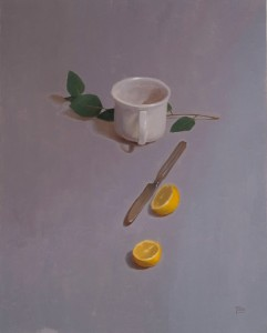 Sarah Freeman | Teacup With Lemons, oil, 20 x 16.