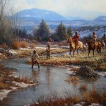 Martin Grelle, Trappers in the Wind Rivers, oil, 44 x 56.