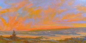 Teruko Wilde, Sunset, oil, 12 x 24.