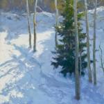 Jennifer Moses, A Snowy Harvest, oil, 24 x 18.